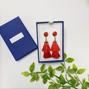 💗 Red Tassel Earrings with Stud